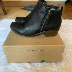Lucky brand Basel leather black booties
